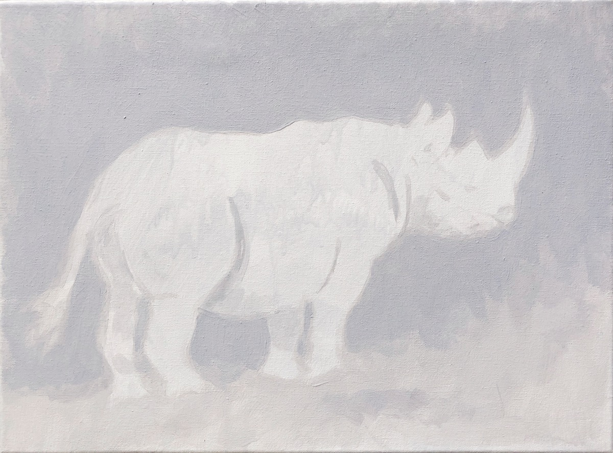 SUPERWILDVISION Namibia, ein Kunstprojekt von Irene Müller. Tier Gemaelde Kontemplation im Morgengrauen, Rhinozeros