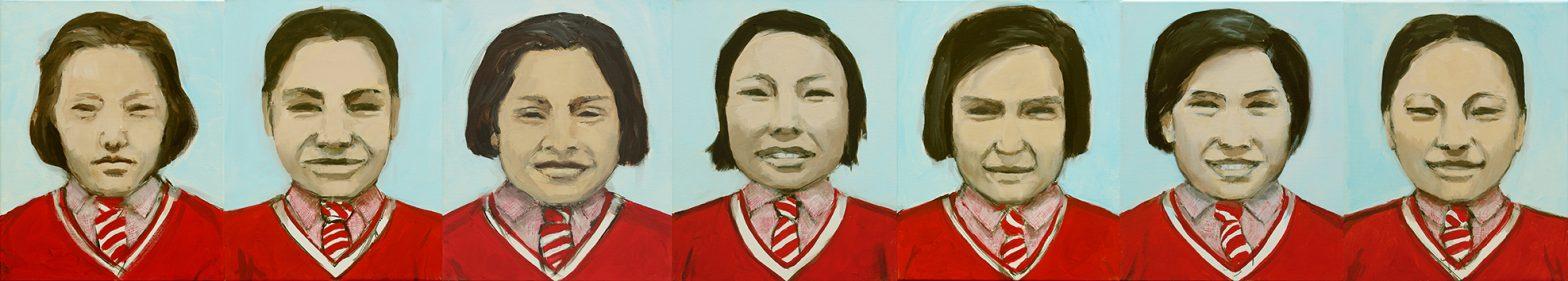 siebenteiliges Gemaelde Mahabodhi Girls, Portraits, Schule in Ladakh, Indien, © Irene Mueller