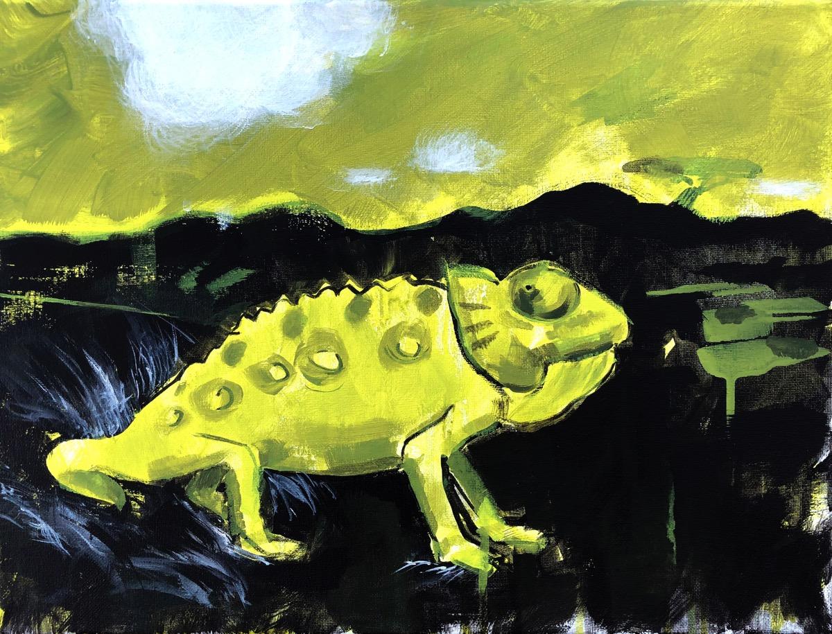 SUPERWILDVISION Namibia, ein Kunstprojekt von Irene Mueller, Tier Gemaelde Chamaeleon