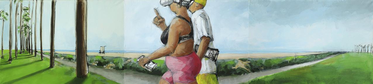 Gemaelde Promenade, Kalifornien, Panorama Strandpromenade, extremer Weitwinkel, Mann und Frau laufen durchs Bild © Irene Mueller