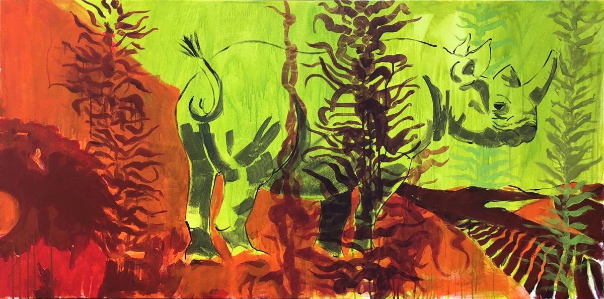 SUPERWILDVISION Namibia, ein Kunstprojekt von Irene Mueller, Gemaelde Rhinozeros